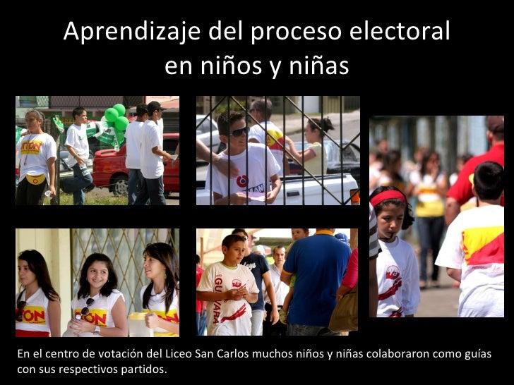 Aprendizaje del proceso electoral en niños y niñas En el centro de votación del Liceo San Carlos muchos niños y niñas cola...