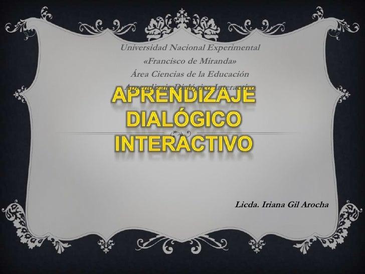 Aprendizaje dialógico interactivo