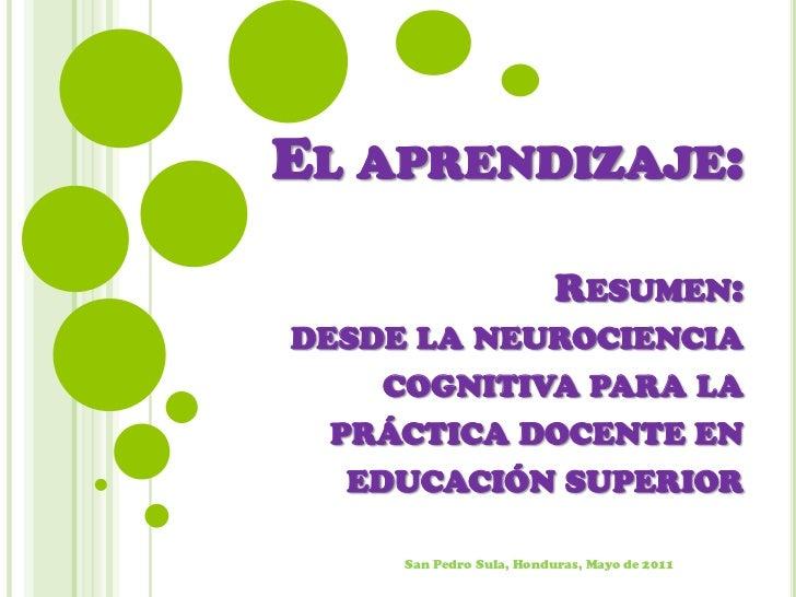 El aprendizaje: Resumen: desde la neurociencia  cognitiva para la práctica docente en  educación superior<br />San Pedro S...