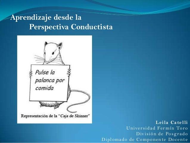 Aprendizaje desde la Perspectiva Conductista