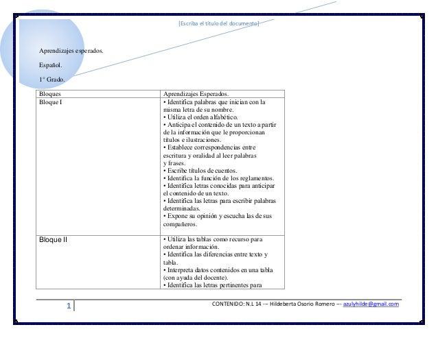 [Escriba el título del documento]1 CONTENIDO: N.L 14 --- Hildeberta Osorio Romero --- azulyhilde@gmail.comAprendizajes esp...