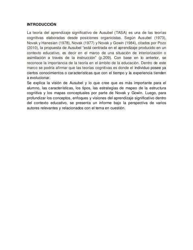 INTRODUCCIÓNLa teoría del aprendizaje significativo de Ausubel (TASA) es una de las teoríascognitivas elaboradas desde pos...