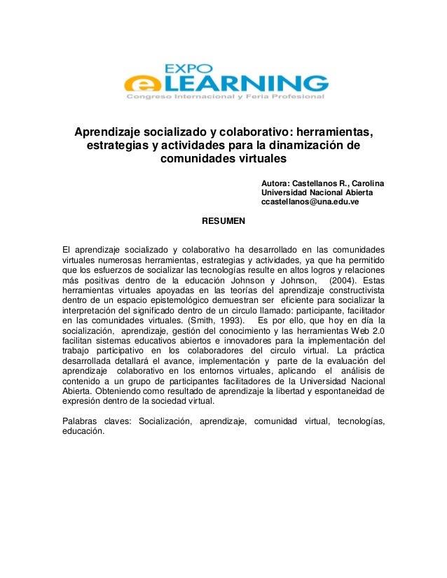 Aprendizaje socializado y colaborativo: herramientas, estrategias y actividades para la dinamización de comunidades virtua...