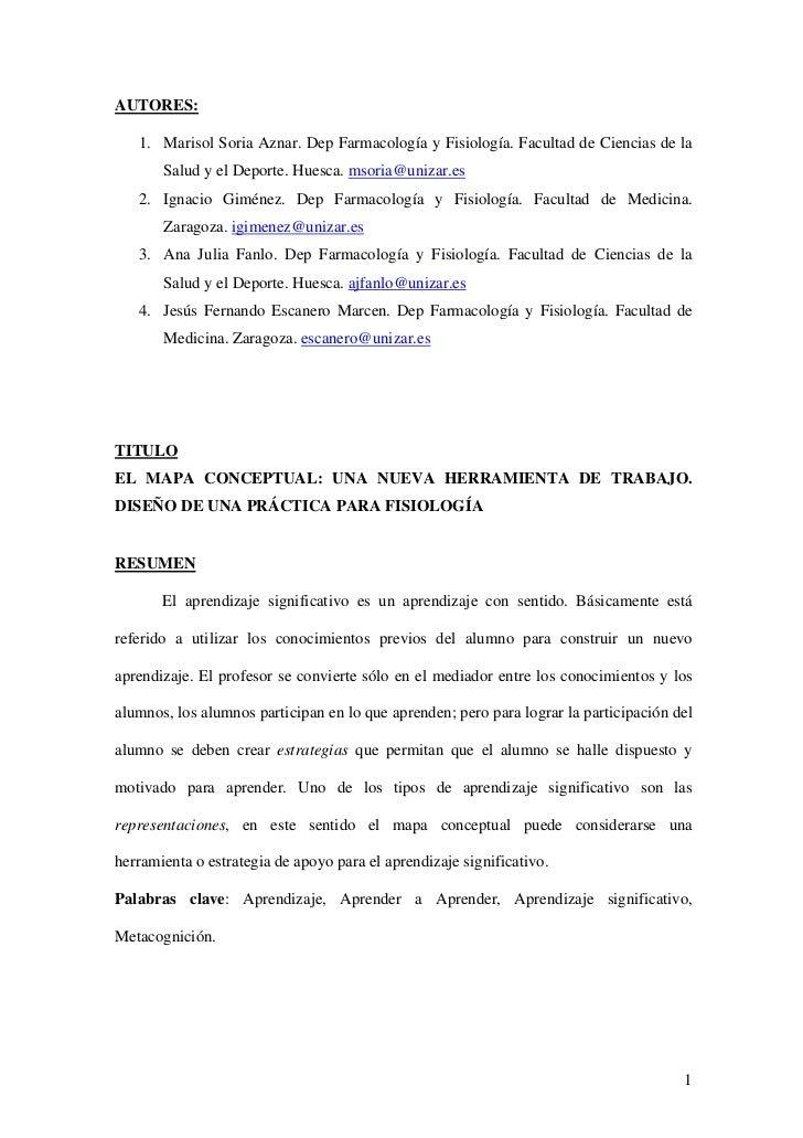 AUTORES:   1. Marisol Soria Aznar. Dep Farmacología y Fisiología. Facultad de Ciencias de la       Salud y el Deporte. Hue...