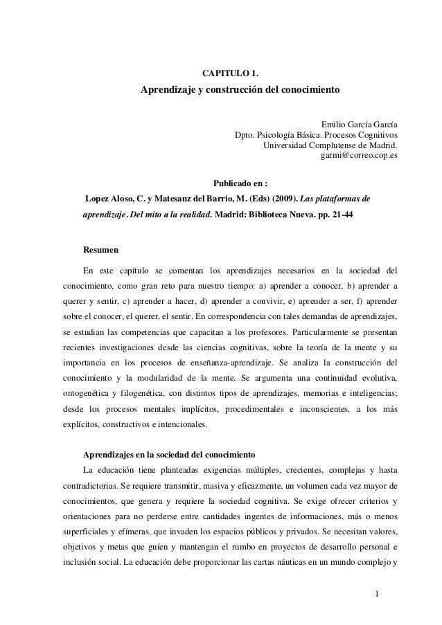 1 CAPITULO 1. Aprendizaje y construcción del conocimiento Emilio García García Dpto. Psicología Básica. Procesos Cognitivo...