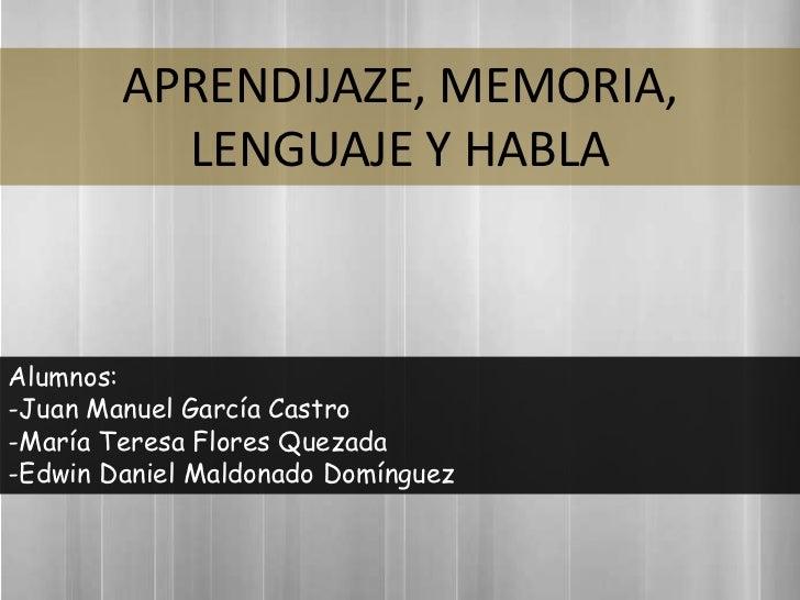 Aprendizaje, Memoría, Lenguaje y Habla