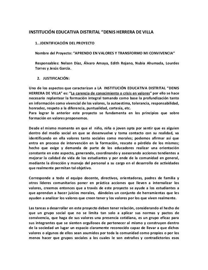 """INSTITUCIÓN EDUCATIVA DISTRITAL """"DENIS HERRERA DE VILLA   1...IDENTIFICACIÓN DEL PROYECTO   Nombre del Proyecto: """"APRENDO ..."""