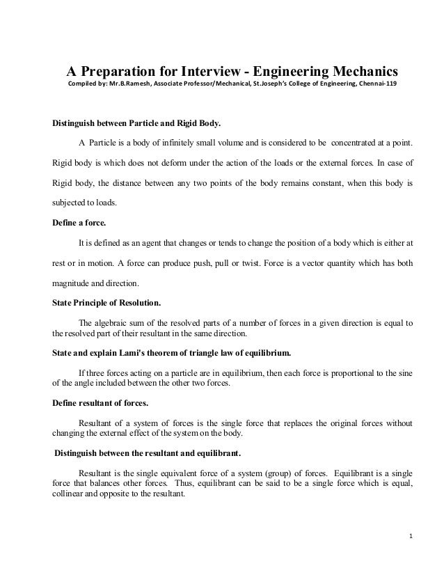1   A Preparation for Interview - Engineering Mechanics Compiledby:Mr.B.Ramesh,AssociateProfessor/Mechanical,St.Jo...