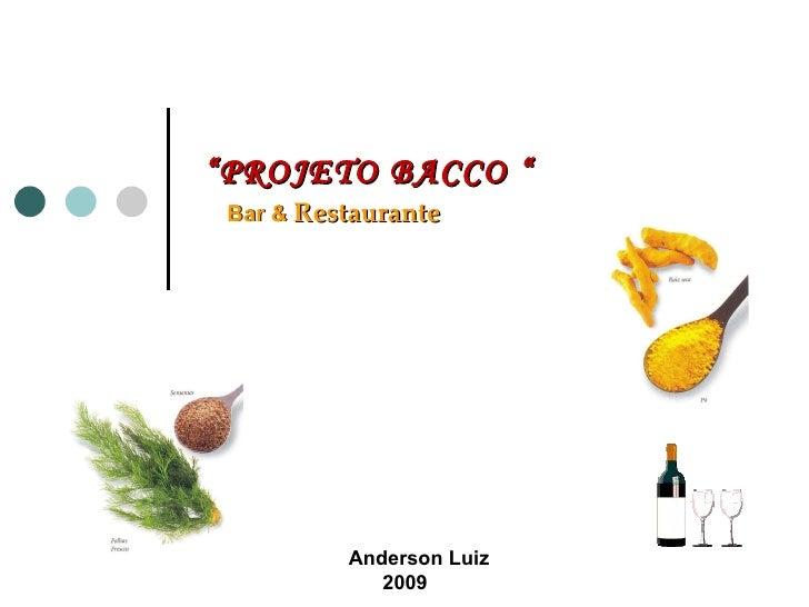 """Bar &  Restaurante Anderson Luiz 2009 """" PROJETO BACCO """""""