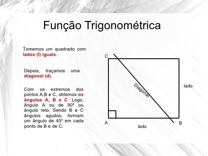 Função TrigonométricaTomemos um quadrado comlados (l) iguais.            CDepois, traçamos    umadiagonal (d).            ...