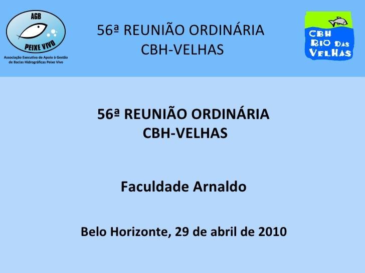 56ª REUNIÃO ORDINÁRIA  CBH-VELHAS Faculdade Arnaldo Belo Horizonte, 29 de abril de 2010
