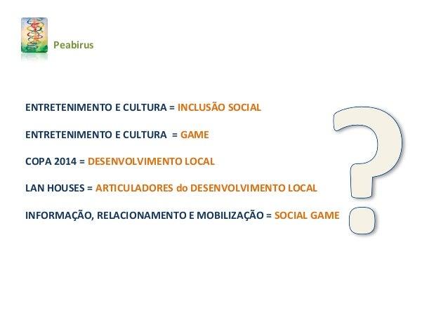 ENTRETENIMENTO E CULTURA = INCLUSÃO SOCIAL ENTRETENIMENTO E CULTURA = GAME COPA 2014 = DESENVOLVIMENTO LOCAL LAN HOUSES = ...