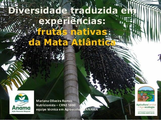 Diversidade traduzida em experiências: frutas nativas da Mata Atlântica  Mariana Oliveira Ramos Nutricionista – CRN2 5880 ...