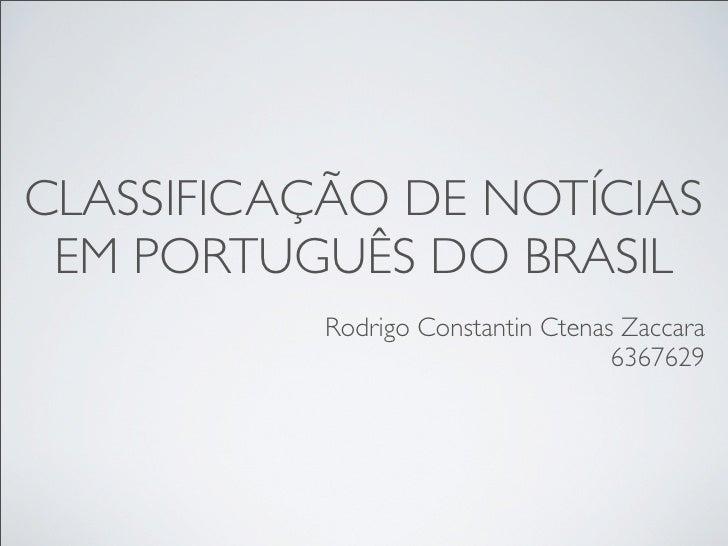 Classificação automática de notícias em português do Brasil