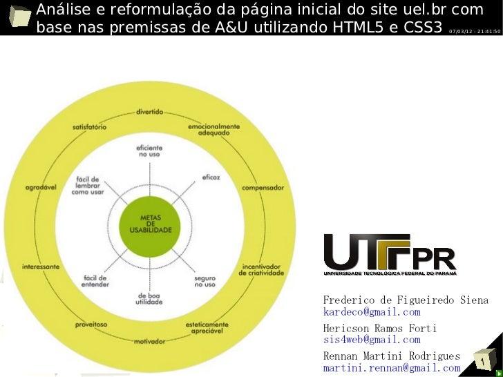 Análise e reformulação da página inicial do site uel.br com base nas premissas de A&U utilizando HTML5 e CSS3