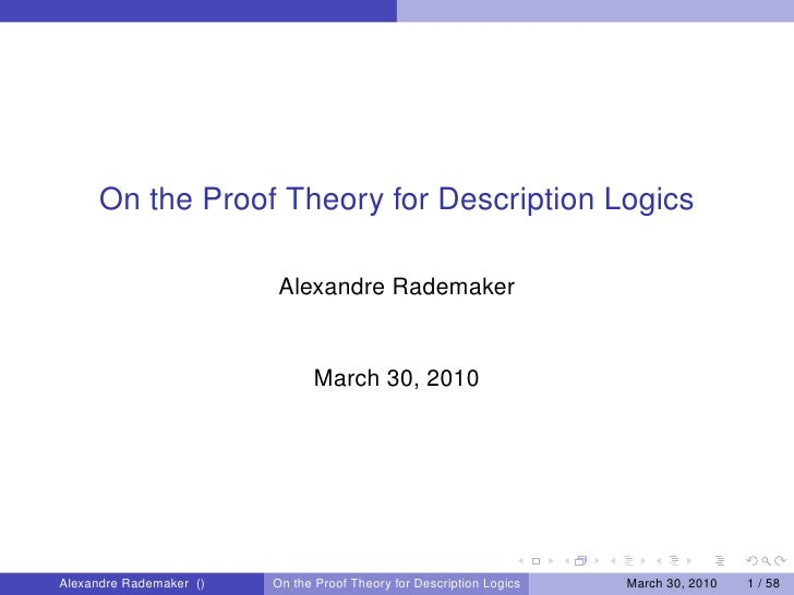 On the Proof Theory for Description Logics                          Alexandre Rademaker                               Marc...