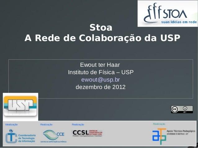 StoaA Rede de Colaboração da USP             Ewout ter Haar       Instituto de Física – USP             ewout@usp.br      ...
