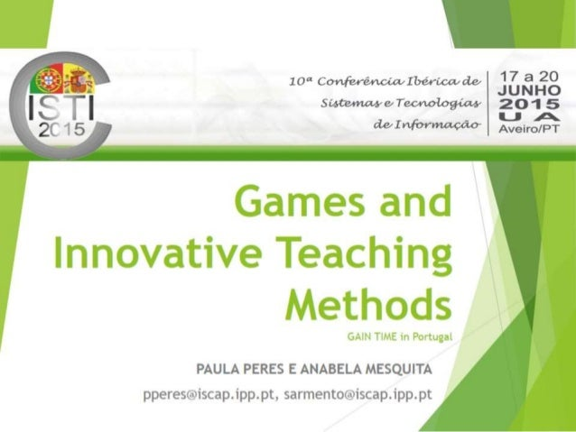 Innovative Ways Of Classroom Teaching : Games and innovative teaching methods