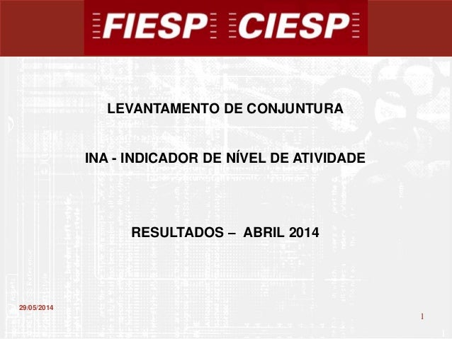 1 1 29/05/2014 LEVANTAMENTO DE CONJUNTURA INA - INDICADOR DE NÍVEL DE ATIVIDADE RESULTADOS – ABRIL 2014