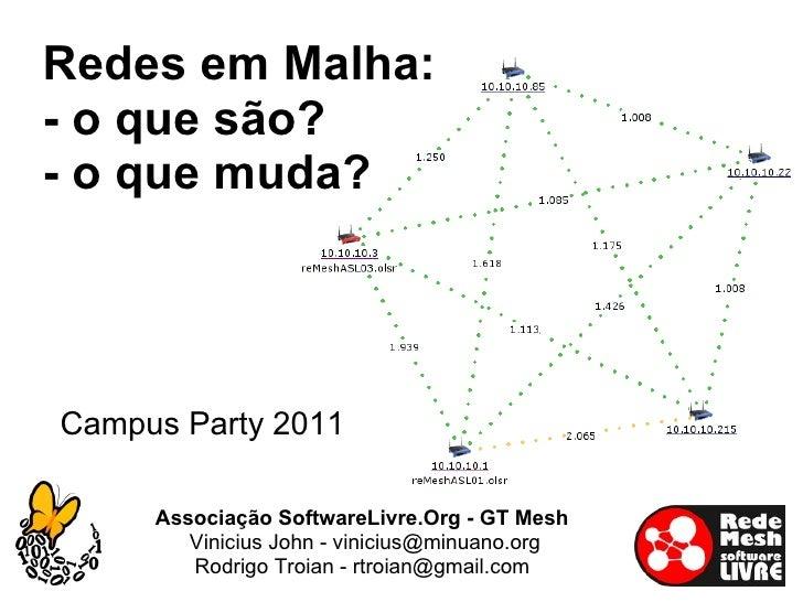 <ul>Campus Party 2011 </ul><ul>Redes em Malha: - o que são? - o que muda? </ul><ul>Associação SoftwareLivre.Org - GT Mesh ...