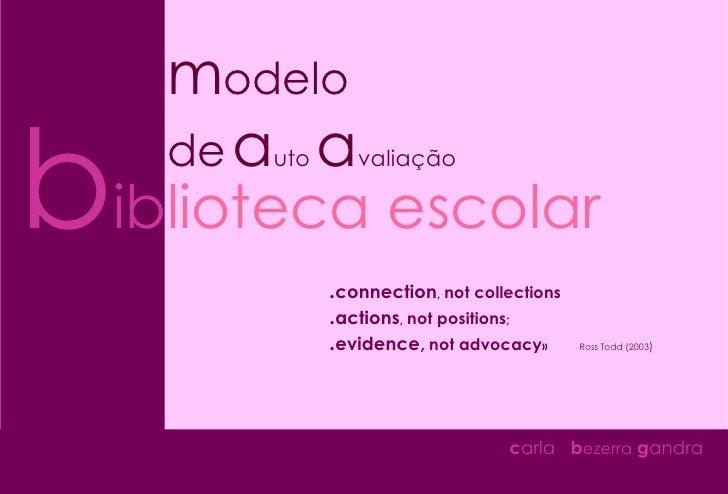 b ib lioteca escolar m odelo de   a uto  a valiação c arla  b ezerra  g andra . connection ,  not collections   . actions ...