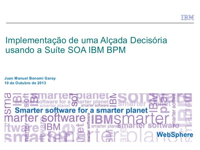 © 2010 IBM Corporation WebSphere Implementação de uma Alçada Decisória usando a Suíte SOA IBM BPM Juan Manuel Bonomi Garay...