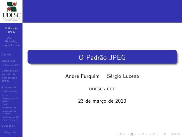 O Padr˜o         a    JPEG      Andr´e    Furquim, S´rgio Lucena  e   Agenda  Introdu¸˜o        ca                      O ...