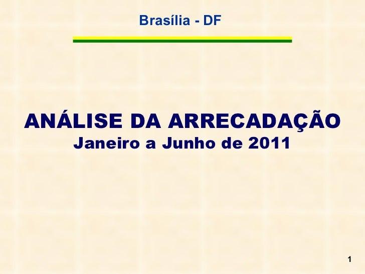 ANÁLISE DA ARRECADAÇÃO  Janeiro a Junho de 2011