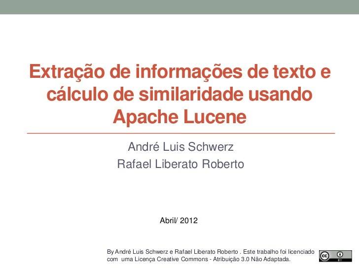 Extração de informações de texto e cálculo de similaridade usando Apache Lucene