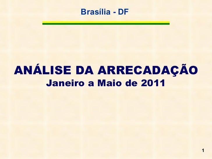 ANÁLISE DA ARRECADAÇÃO  Janeiro a Maio de 2011