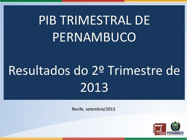 PIB TRIMESTRAL DE PERNAMBUCO Resultados do 2º Trimestre de 2013 Recife, setembro/2013Recife, setembro/2013