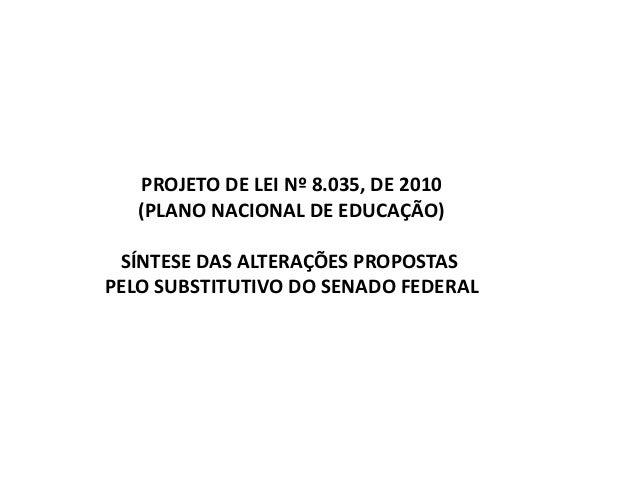 PROJETO DE LEI Nº 8.035, DE 2010 (PLANO NACIONAL DE EDUCAÇÃO) SÍNTESE DAS ALTERAÇÕES PROPOSTAS PELO SUBSTITUTIVO DO SENADO...