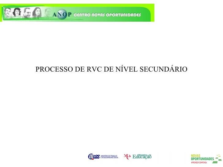 PROCESSO DE RVC DE NÍVEL SECUNDÁRIO