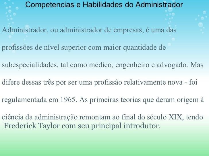 Habilidade e competencias do administrador