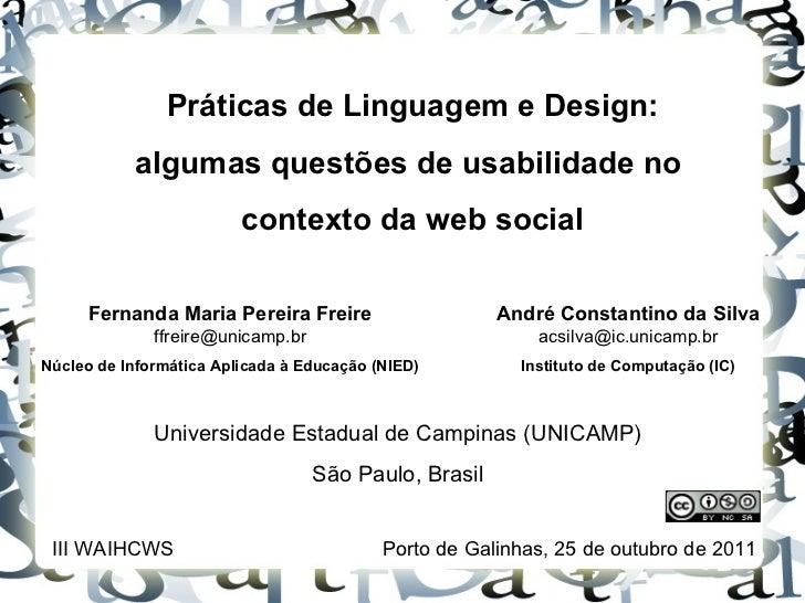 Práticas de Linguagem e Design: algumas questões de usabilidade no  contexto da web social Fernanda Maria Pereira Freire  ...