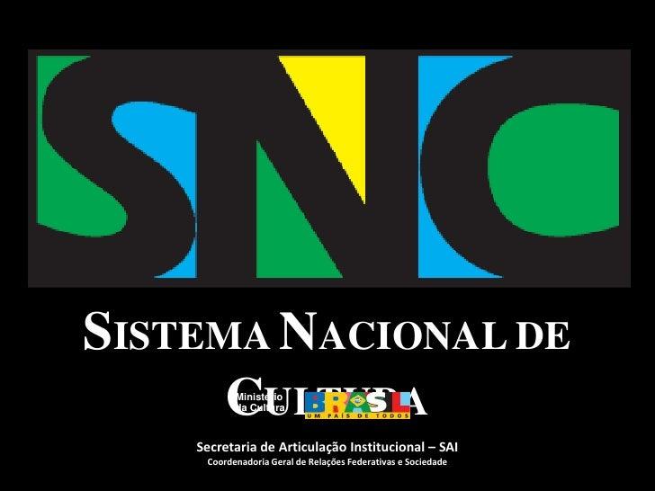Ministério<br />daCultura<br />SISTEMA NACIONAL DE CULTURA<br />Secretaria de Articulação Institucional – SAI <br />Coorde...
