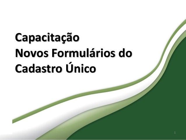 Secretaria Nacional de Renda de Cidadania  Capacitação Novos Formulários do Cadastro Único  1