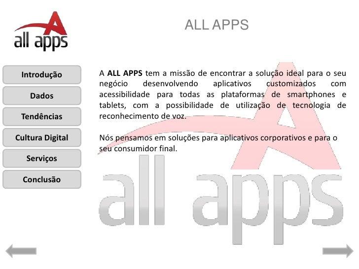 ALL APPS Introdução       A ALL APPS tem a missão de encontrar a solução ideal para o seu                  negócio     des...