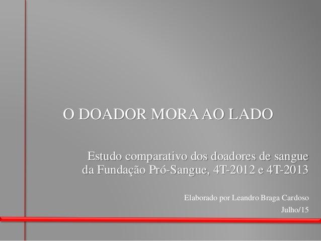 O DOADOR MORAAO LADO Julho/15 Elaborado por Leandro Braga Cardoso Estudo comparativo dos doadores de sangue da Fundação Pr...