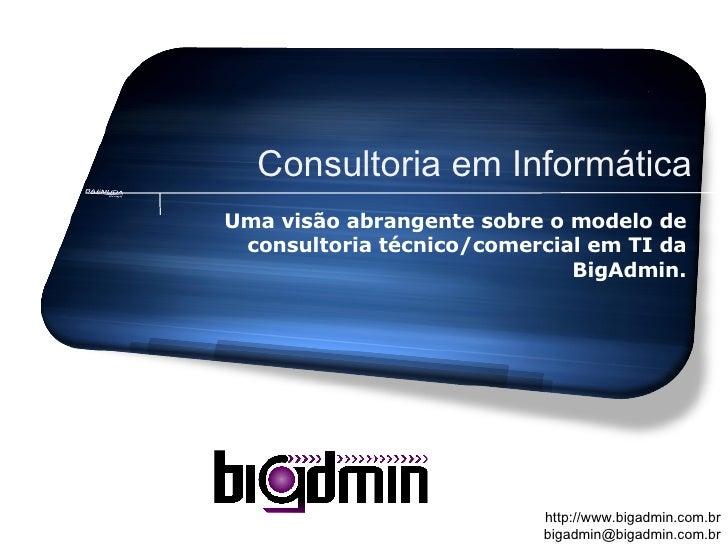 Consultoria em Informática Uma visão abrangente sobre o modelo de consultoria técnico/comercial em TI da BigAdmin.