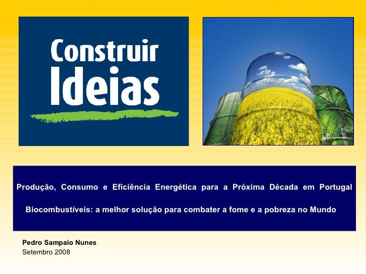 Pedro Sampaio Nunes Setembro 2008 Produção, Consumo e Eficiência Energética para a Próxima Década em Portugal   Biocombust...