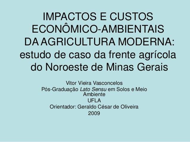 IMPACTOS E CUSTOS ECONÔMICO-AMBIENTAIS DA AGRICULTURA MODERNA: estudo de caso da frente agrícola do Noroeste de Minas Gera...