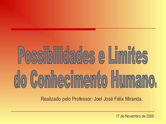 Apresentação   possibilidades e limites do conhecimento huma