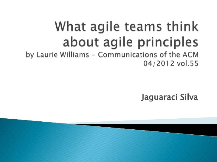 What agile teams think about agile principles