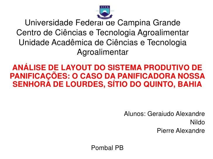 Universidade Federal de Campina GrandeCentro de Ciências e Tecnologia AgroalimentarUnidade Acadêmica de Ciências e Tecnolo...
