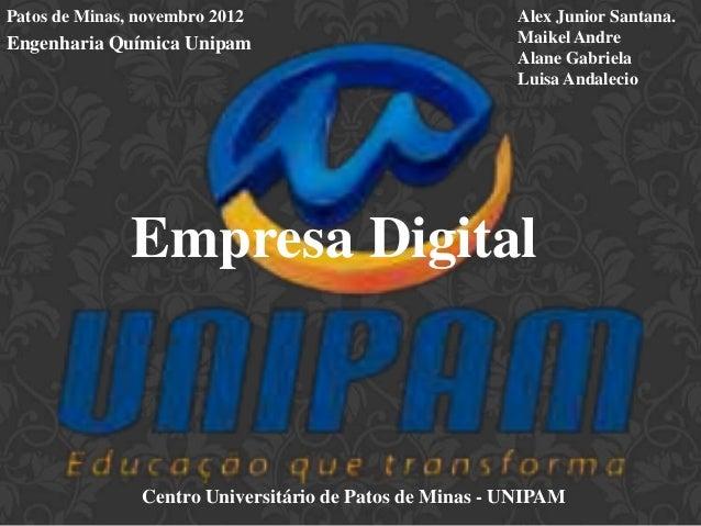Patos de Minas, novembro 2012                            Alex Junior Santana.Engenharia Química Unipam                    ...