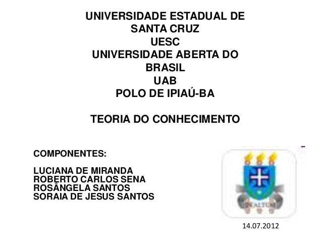 UNIVERSIDADE ESTADUAL DESANTA CRUZUESCUNIVERSIDADE ABERTA DOBRASILUABPOLO DE IPIAÚ-BATEORIA DO CONHECIMENTOCOMPONENTES:LUC...