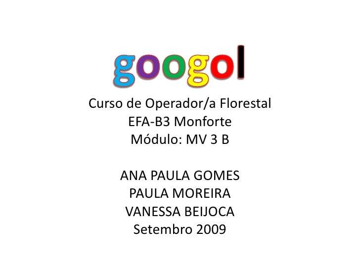 googol<br />Curso de Operador/a Florestal<br />EFA-B3Monforte<br />Módulo: MV 3 B<br />ANA PAULA GOMES<br />PAULA MOREIRA<...