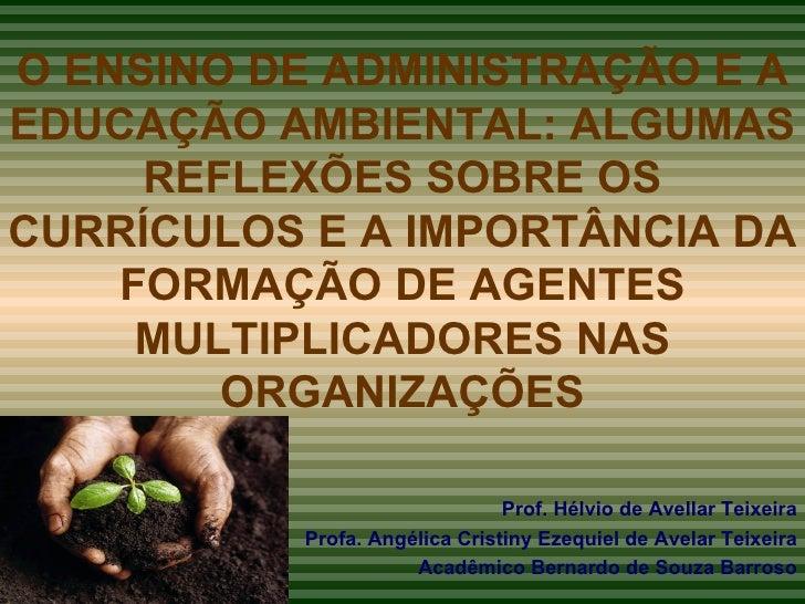 O ENSINO DE ADMINISTRAÇÃO E A EDUCAÇÃO AMBIENTAL: ALGUMAS REFLEXÕES SOBRE OS CURRÍCULOS E A IMPORTÂNCIA DA FORMAÇÃO DE AGE...
