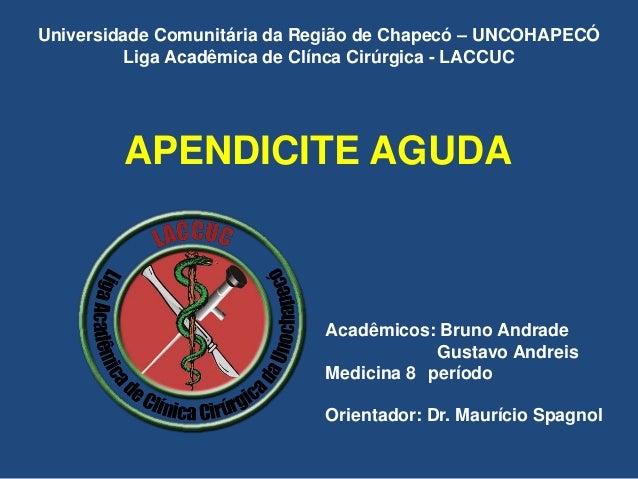 APENDICITE AGUDA Acadêmicos: Bruno Andrade Gustavo Andreis Medicina 8 período Orientador: Dr. Maurício Spagnol Universidad...
